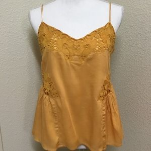 Sanctuary Mustard Yellow Camisole Lace Detail Top